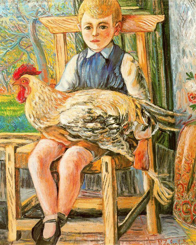 Boy sitting with a hen on his lap - Rafael Zabaleta