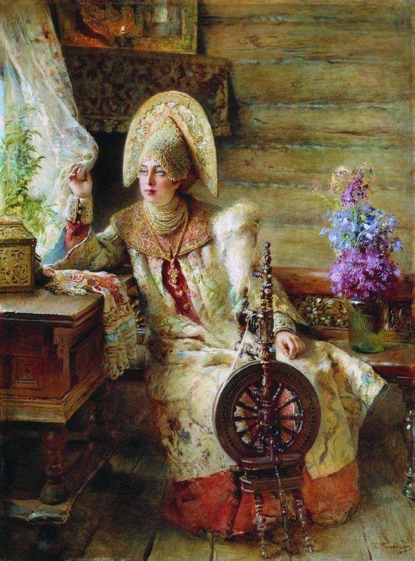 Boyaryshnya by the window - Konstantin Makovsky