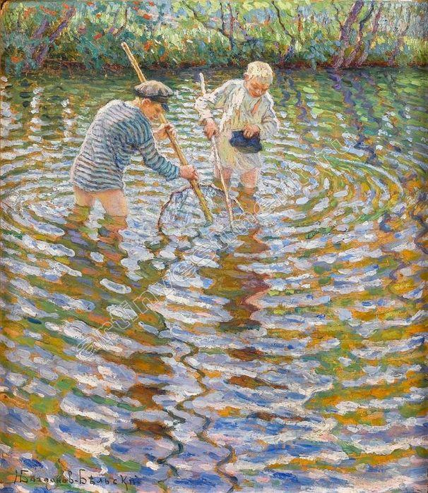 Boys Catching Fish - Nikolay Bogdanov-Belsky