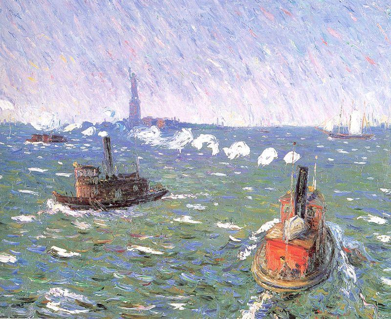 Breezy Day Tugboats New York Harbor  - William James Glackens