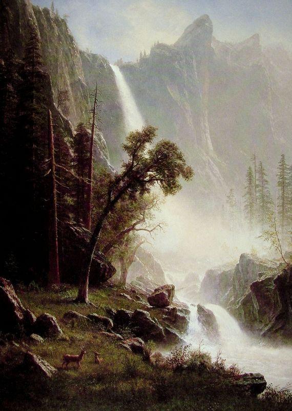 Bridal Veil Falls, Yosemite - Albert Bierstadt