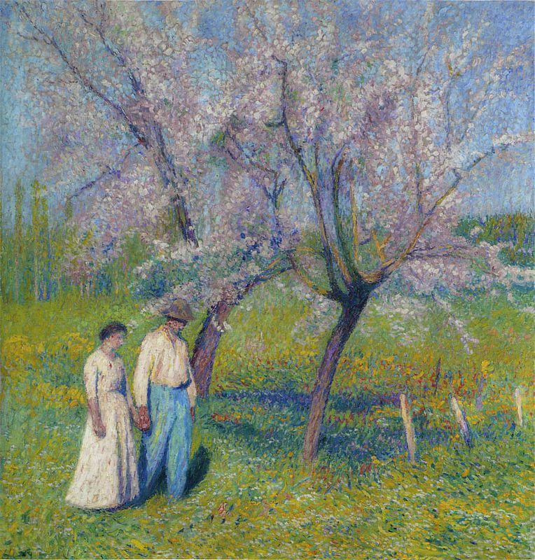 Brides walk under the apple trees - Henri Martin