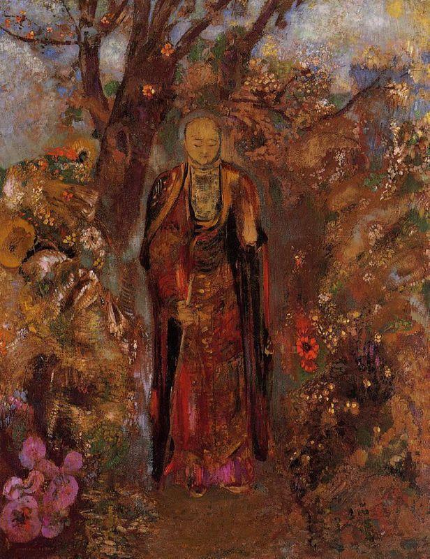 Buddha Walking among the Flowers - Odilon Redon