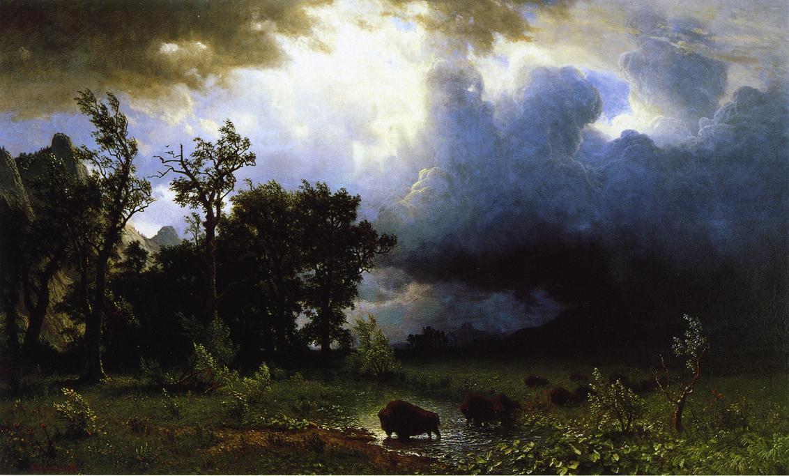 Buffalo Trail the Impending Storm - Albert Bierstadt