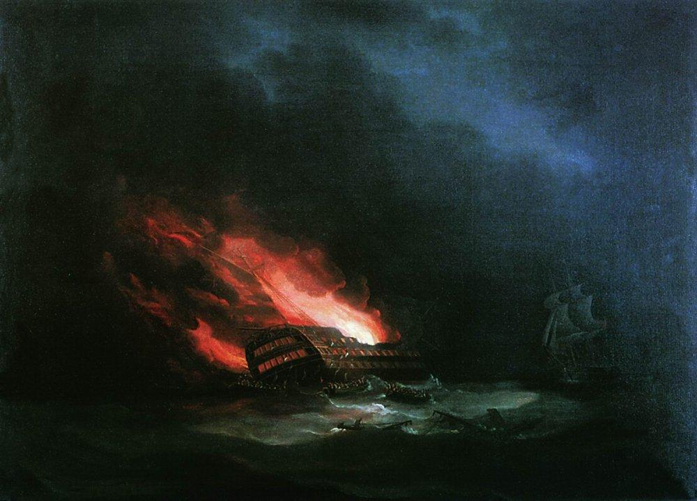 Burning ship (the episode of the Russian-Turkish War) - Ivan Aivazovsky