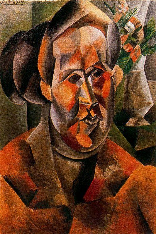 Bust of woman with flowers - Pablo Picasso
