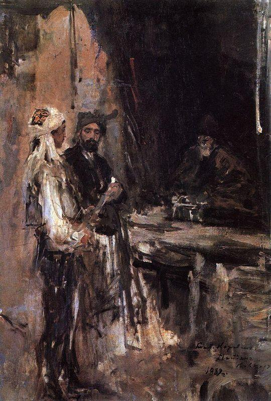 Buying a dagger  - Konstantin Korovin