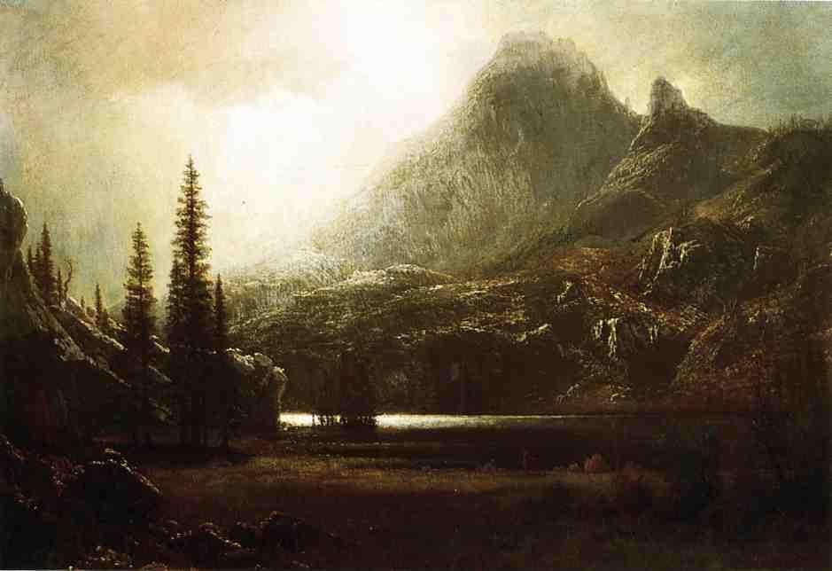By a Mountain Lake - Albert Bierstadt