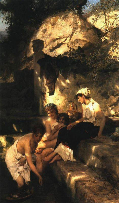 By a Pool. A Scene from Roman Life - Henryk Siemiradzki