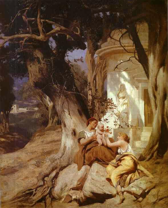 By a Temple (Idyll) - Henryk Siemiradzki