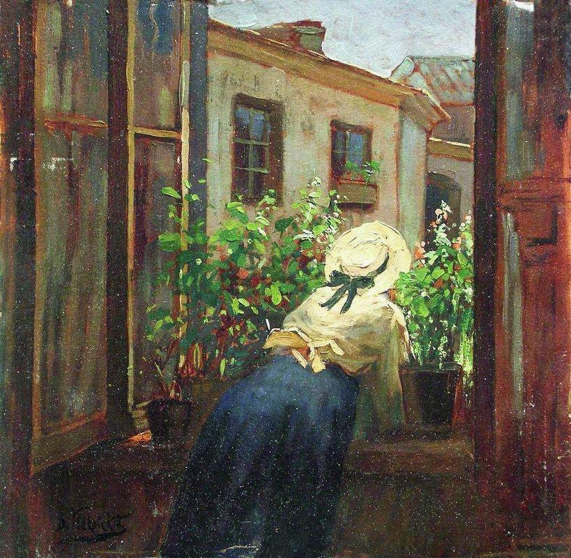 By the open window - Konstantin Makovsky