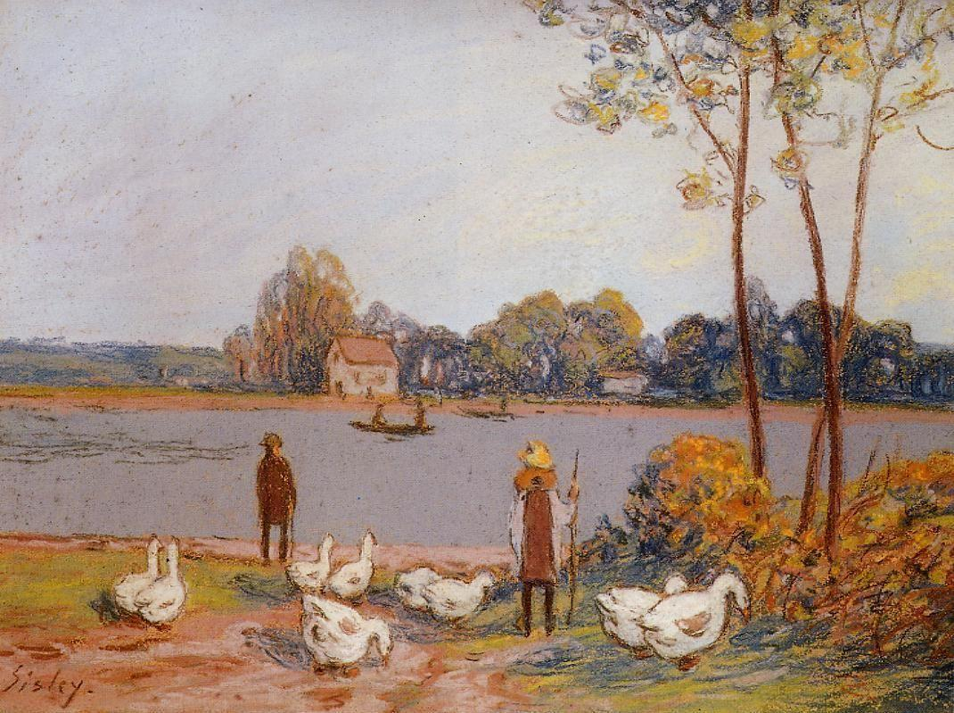By the River Loing - Alfred Sisley