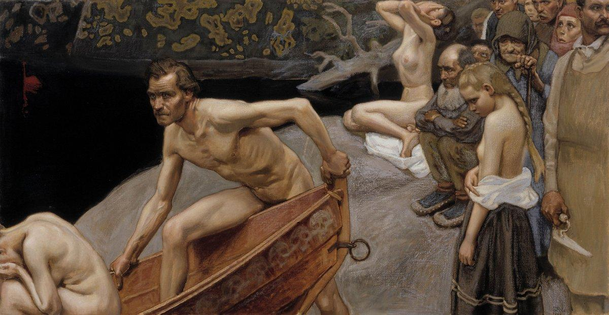 By the River of Tuonela, study for the Juselius Mausoleum frescos  - Akseli Gallen-Kallela
