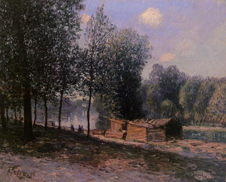 Cabins by the River Loing, Morning - Alfred Sisley