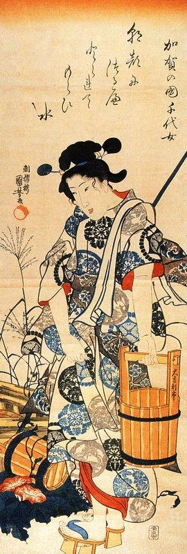 Caga no Chiyo standing beside a well - Utagawa Kuniyoshi