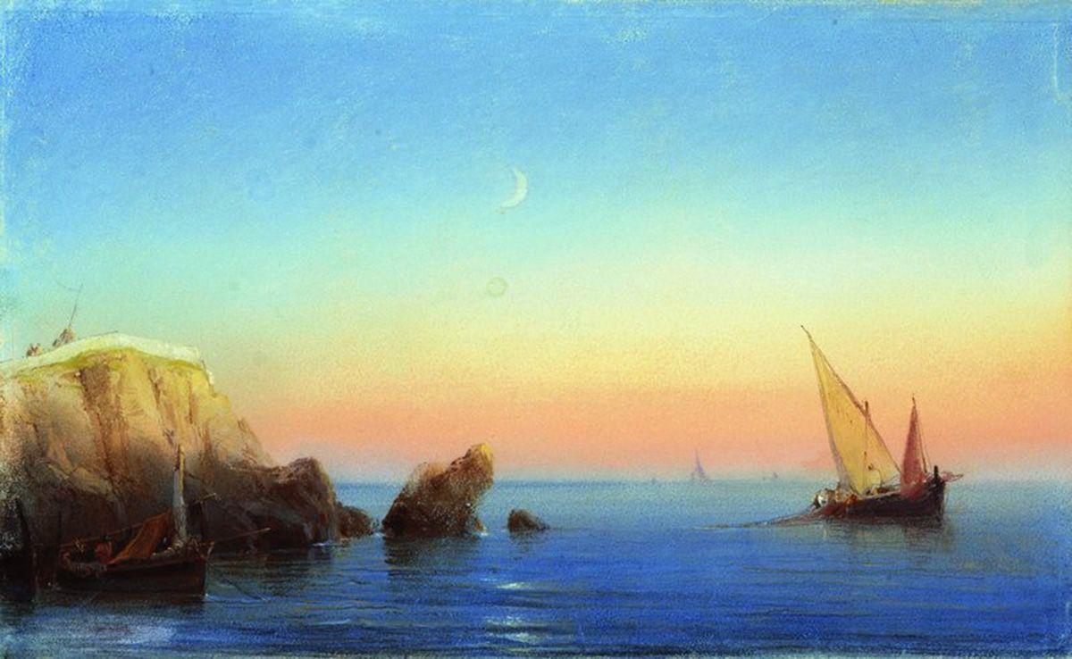 Calm sea. Rocky coast - Ivan Aivazovsky