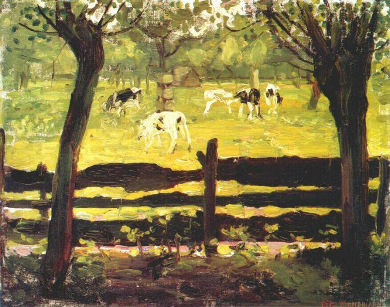 Calves in a Field Bordered by Willow Trees - Piet Mondrian