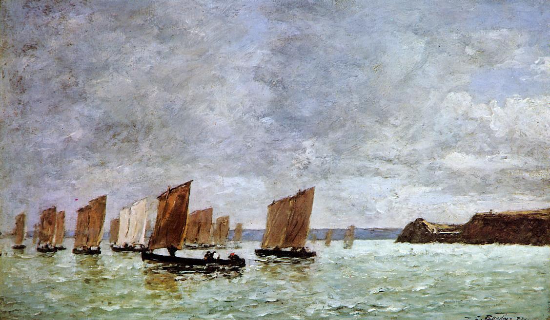 Camaret, Fishing Boats off the Shore - Eugene Boudin