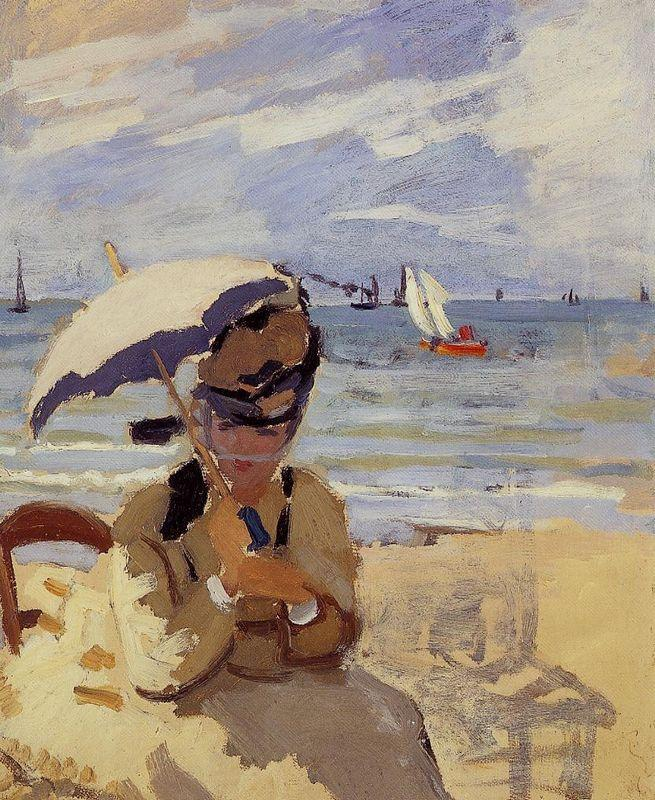 Camille Sitting on the Beach at Trouville - Claude Monet