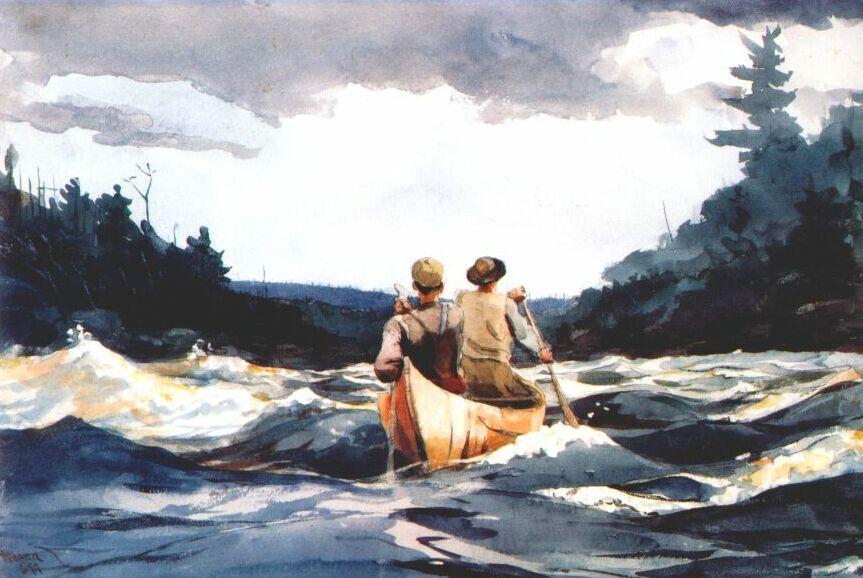 Canoe in the rapids - Winslow Homer