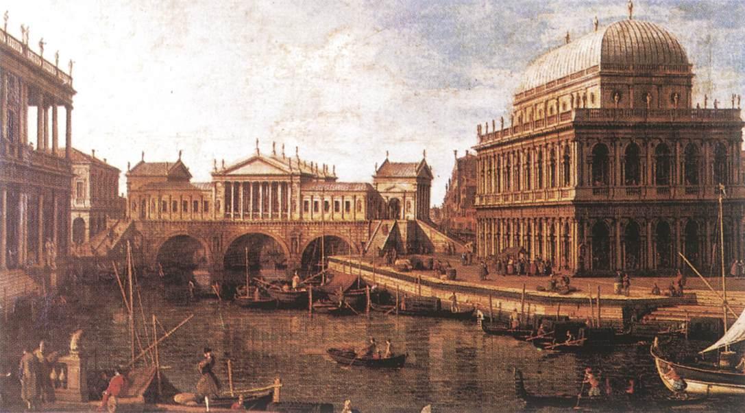 Capriccio: a Palladian Design for the Rialto Bridge, with Buildings at Vicenza - Canaletto