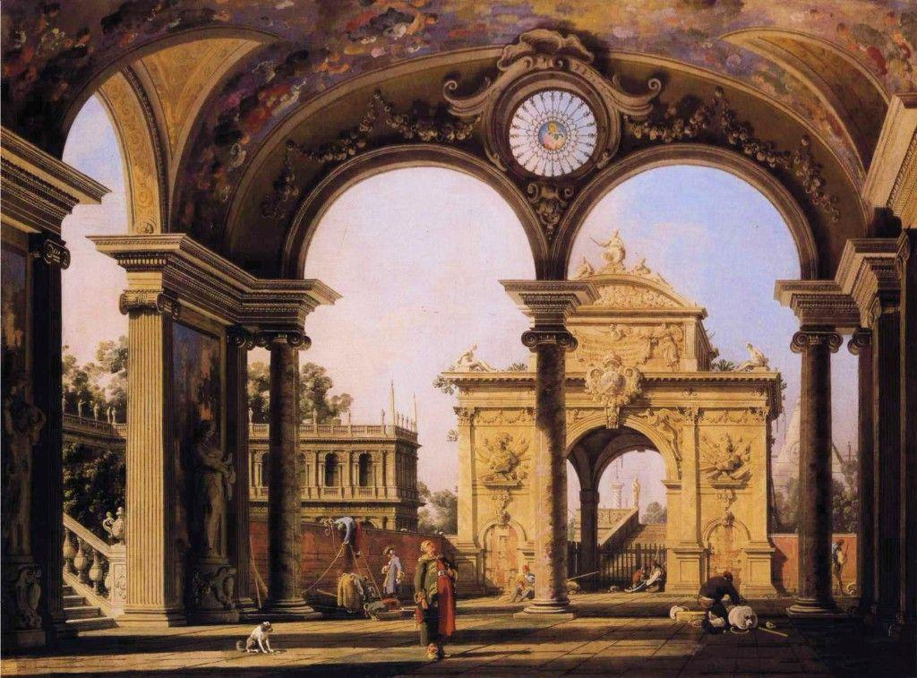 Capriccio of a Renaissance Triumphal Arch seen from the Portico of a Palace - Canaletto