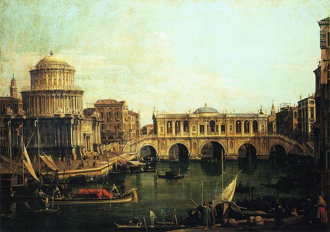 Capriccio of the Grand Canal With an Imaginary Rialto Bridge and Other Buildings - Canaletto