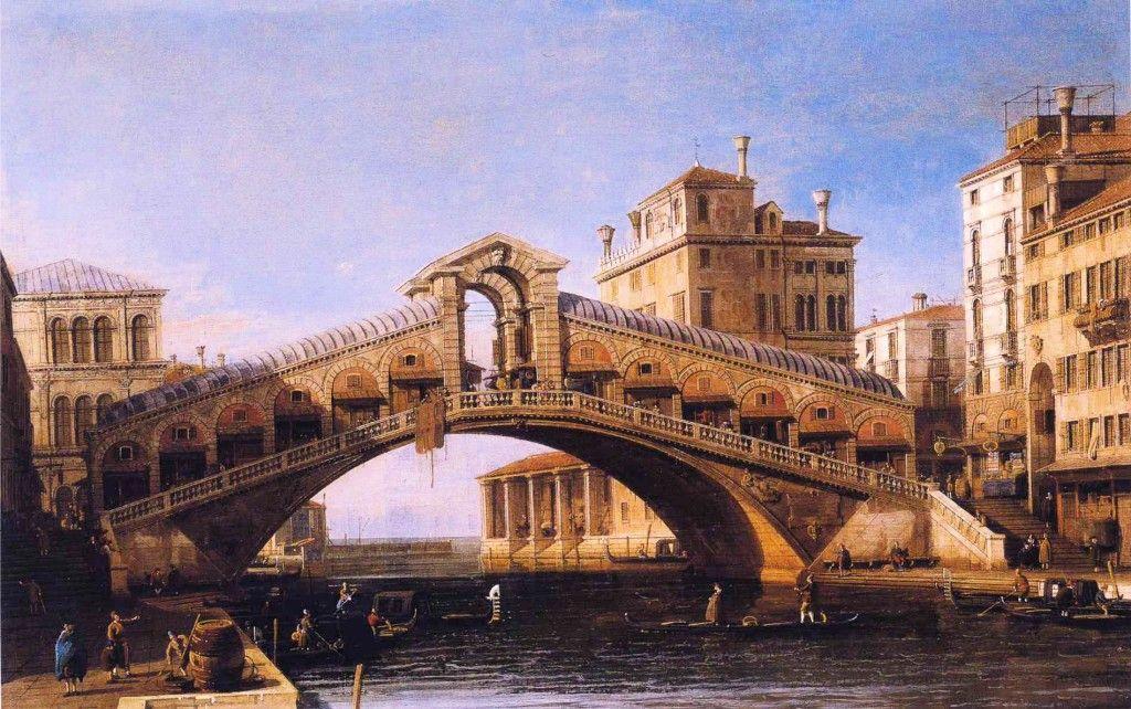 Capriccio of the Rialto Bridge with the Lagoon Beyond - Canaletto