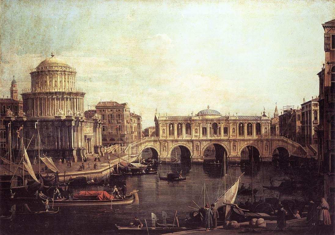 Capriccio: The Grand Canal, with an Imaginary Rialto Bridge and Other Buildings - Canaletto