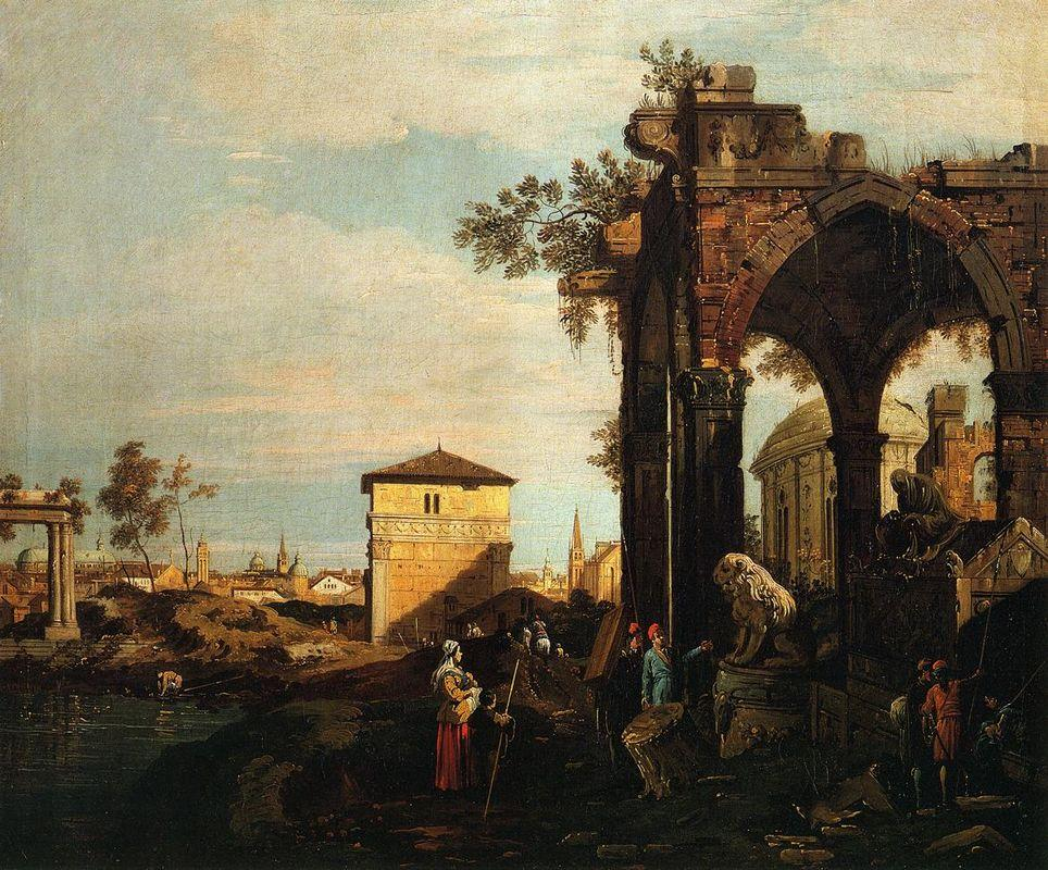Capriccio with Ruins and Porta Portello in Padua - Canaletto