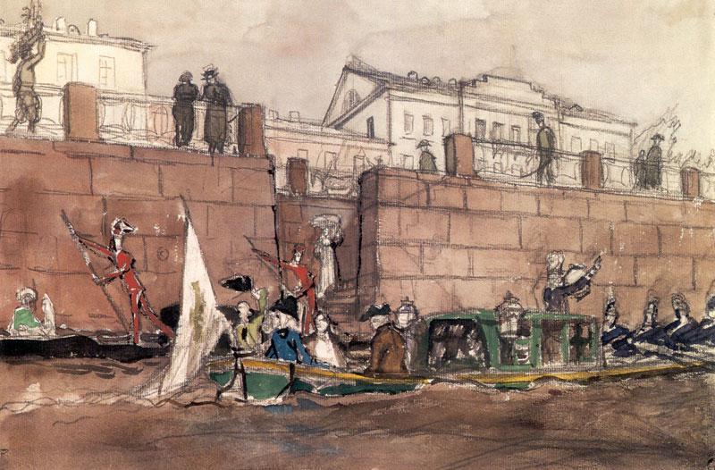 Carnival on the Fontanka River - Alexandre Benois