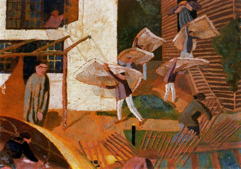 Carrying Mattresses - Stanley Spencer