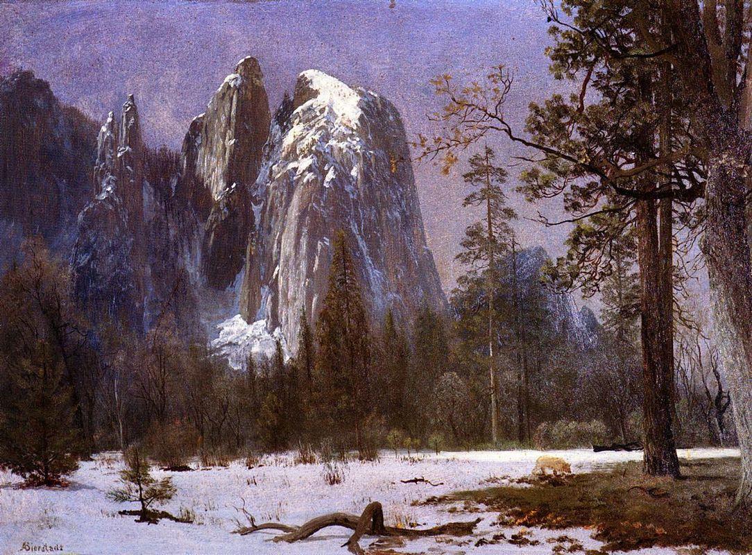 Cathedral Rocks, Yosemite Valley, Winter - Albert Bierstadt