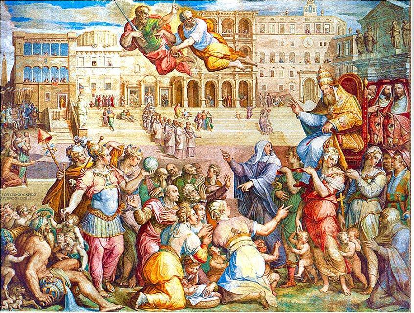 Catherine of Siena escorted pope Gregory XI at Rome on 17th January 1377 - Giorgio Vasari
