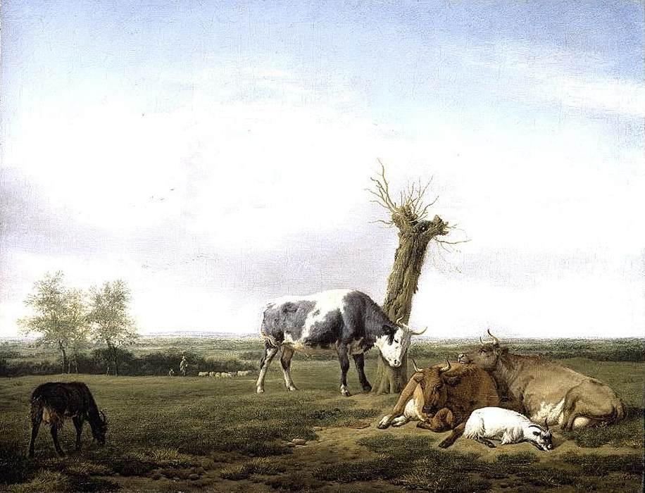 Cattle and Goats in a Meadow - Adriaen van de Velde