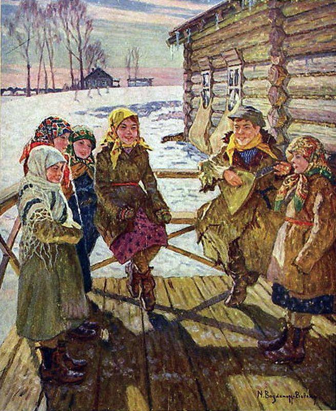 Celebration on a Steps - Nikolay Bogdanov-Belsky