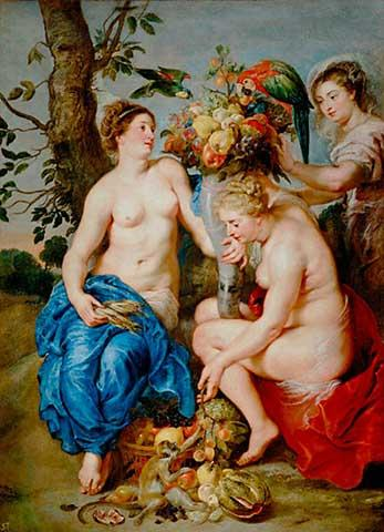 Ceres with two nymphs - Frans Snyders