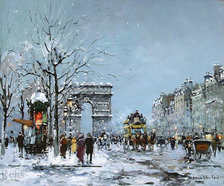Champs Elysees, Winter - Antoine Blanchard
