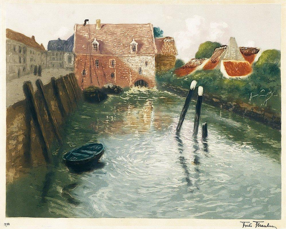 Channel with Watermill - Frits Thaulow