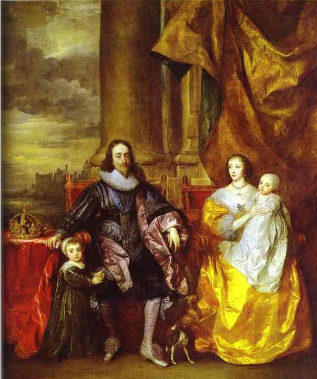 Charles I and Queen Henrietta Maria with Charles, Prince of Wales and Princess Mary - Anthony van Dyck