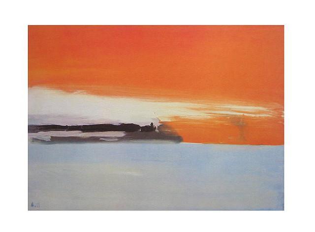 Chemin de fer au bord de la mer, soleil couchant - Nicolas de Stael