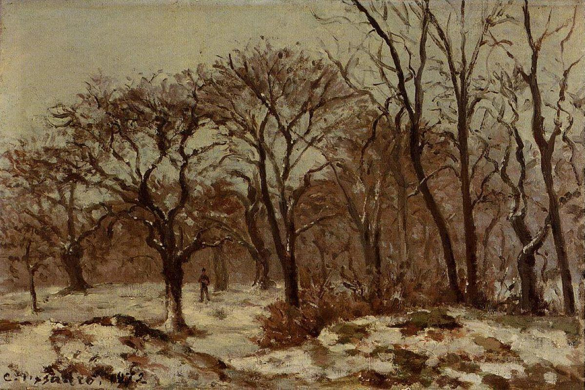 Chestnut Orchard in Winter - Camille Pissarro
