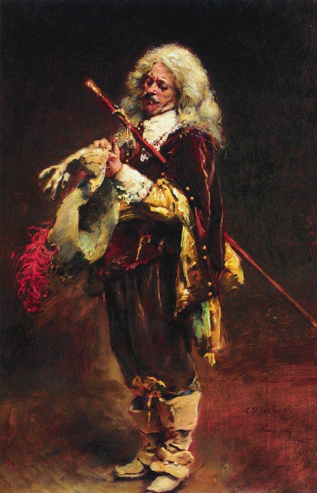 Chevalier, arraying gloves - Konstantin Makovsky