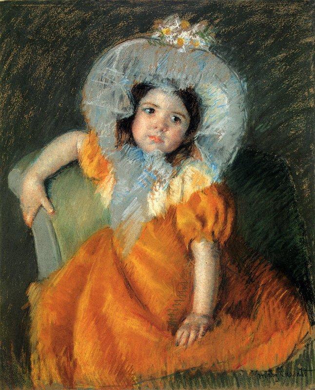 Child In Orange Dress - Mary Cassatt