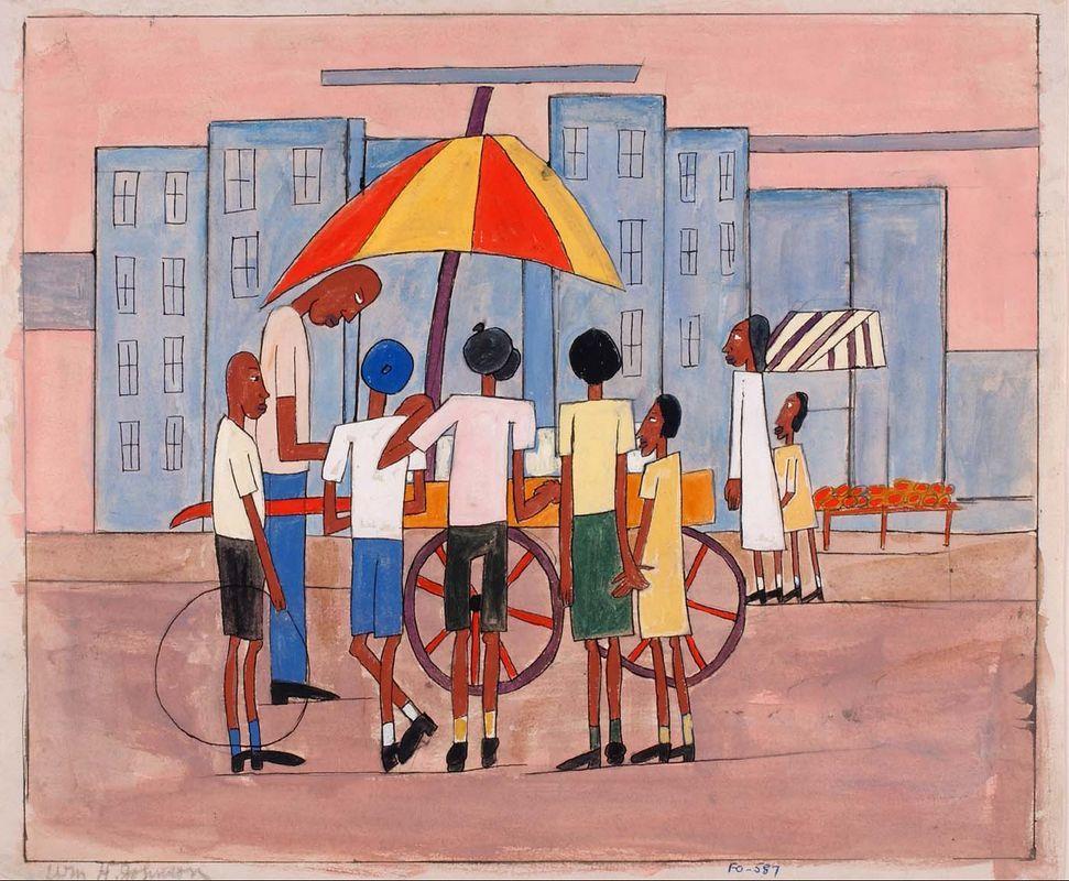 Children at Ice Cream Stand - William H. Johnson