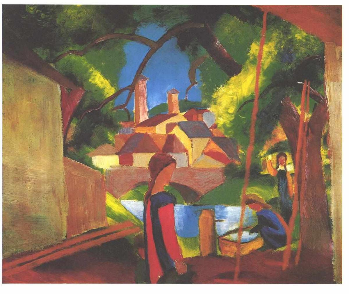 Children at the fountain - August Macke