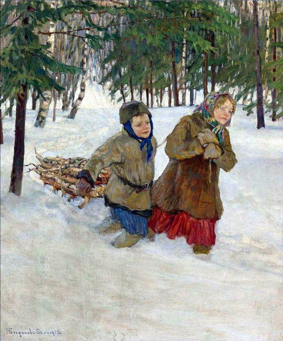 Children carrying the Wood in the Snow, Winter - Nikolay Bogdanov-Belsky