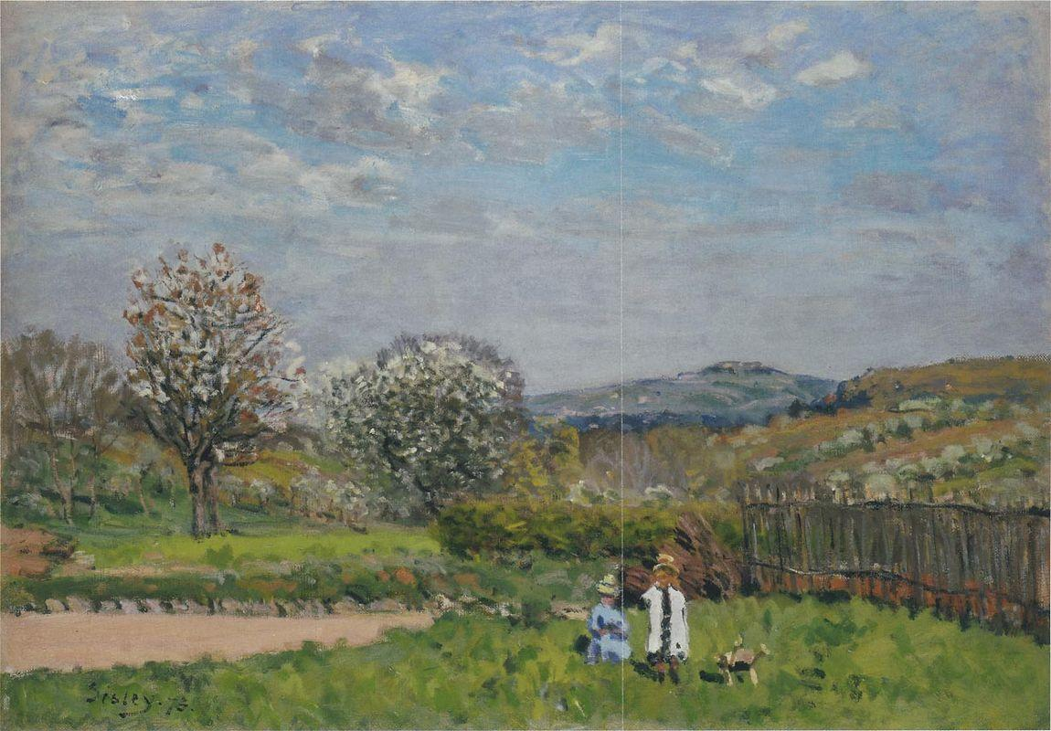 Children Playing in the Fields - Alfred Sisley