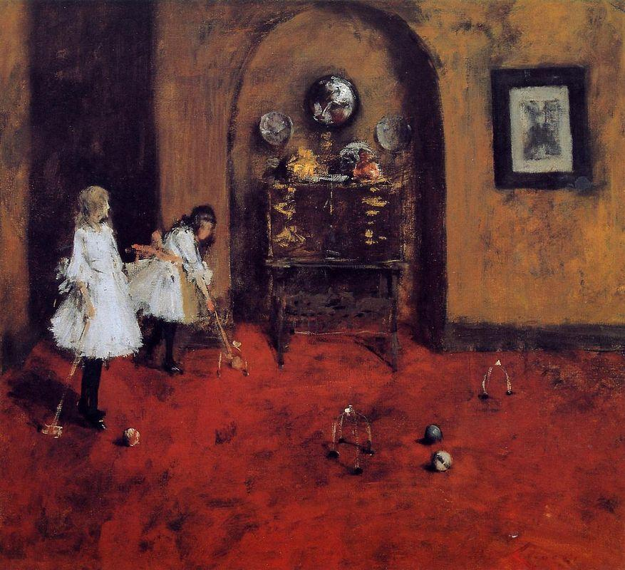 Children Playing Parlor Croquet (sketch) - William Merritt Chase