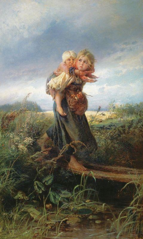 Children running from the Storm - Konstantin Makovsky